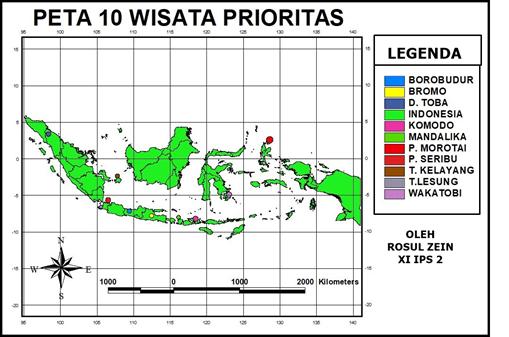 Gambar 2. Salah satu hasil karya siswa (peta 10 wisata proritas dengan menggunakan aplikasi Arc View 3.3)